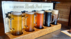Flight of beers from North Peak Brewery in downtown Traverse City